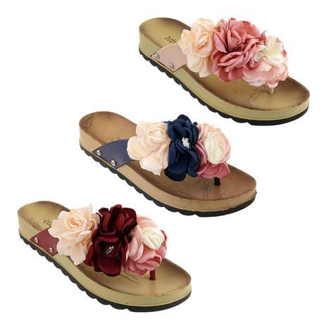 Wholesale Footwear Women's Fashion Flowers Sandals Assorted Color