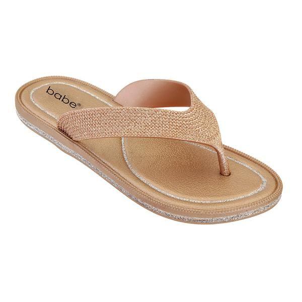 Wholesale Footwear Women's Glitter Flip Flop In Gold