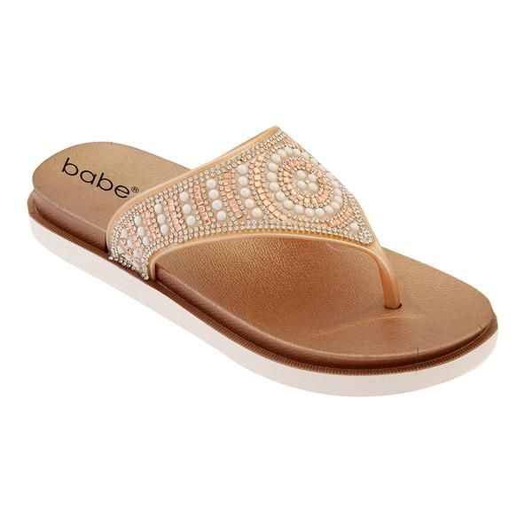 Wholesale Footwear Women's Jeweled Thong Sandals In Rose Gold