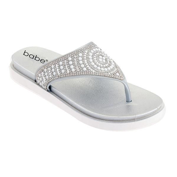 Wholesale Footwear Women's Jeweled Thong Sandals In Silver