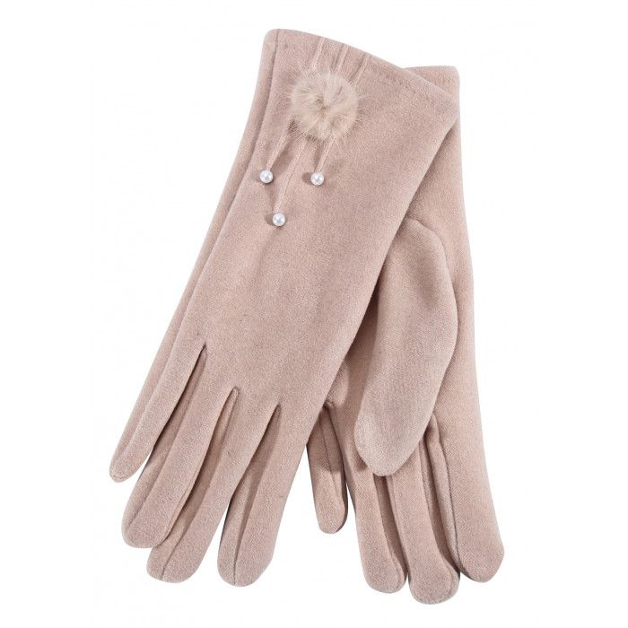 Wholesale Footwear Ladies Glove With Fuzzy Flower And Pearl