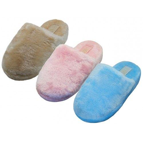 Wholesale Footwear Women's Heavy Plush Close Toe Open Back House Slippers