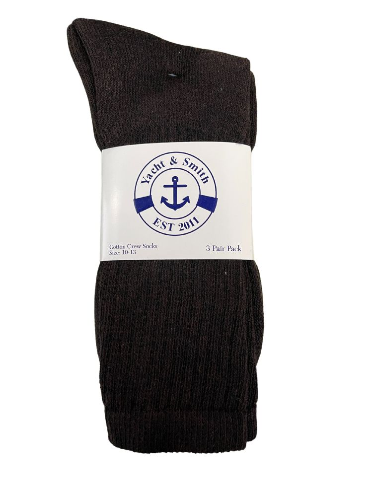 Wholesale Footwear Yacht & Smith Men's Cotton Terry Crew Socks Size 10-13 Brown Bulk Pack