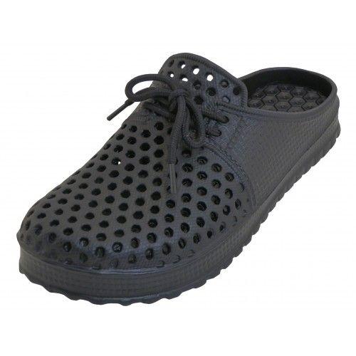 Wholesale Footwear Men Slip On Hollow Upper Open Back Soft Clogs Black Color
