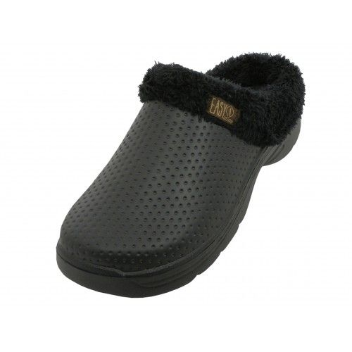 Wholesale Footwear Men's Cotton Terry Lining Insole Soft Clogs In Black