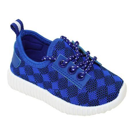 Wholesale Footwear Big Kids Knit Sneaker In Blue