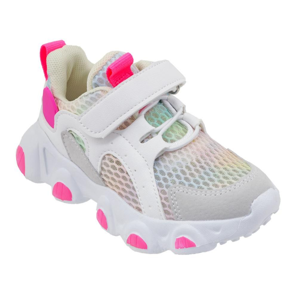 Wholesale Footwear Girls Sneakers Casual Sports Shoes In White And Pink