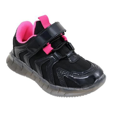 Wholesale Footwear Girls Sneakers Casual Sports Shoes In Black And Fuschia