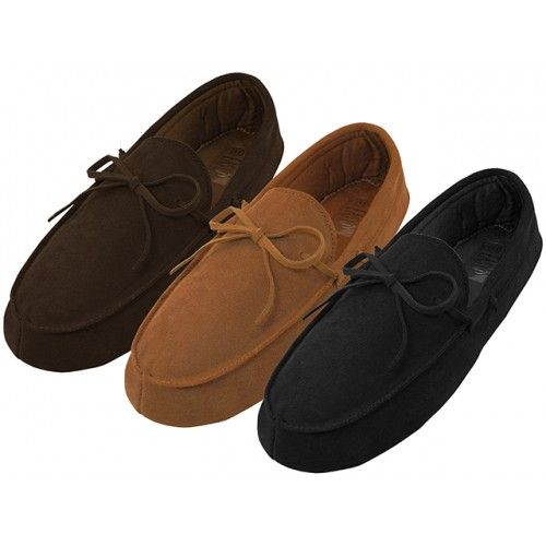 Wholesale Footwear Men's Leather Upper Moccasins Insulated House Slippers