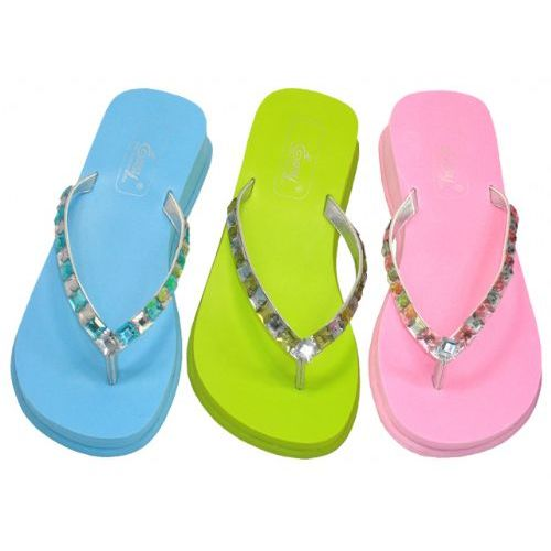 Wholesale Footwear Lady Rhinestones Thong Sandal Size: 5-10