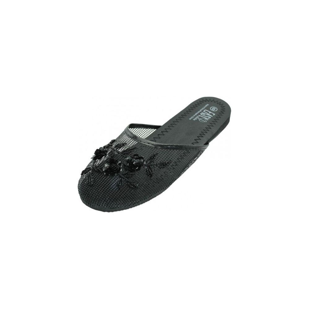 Wholesale Footwear Ladies' Mesh Slippers With Sequins Black