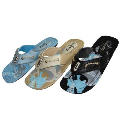 Wholesale Footwear Lady Printed Canvas Thong