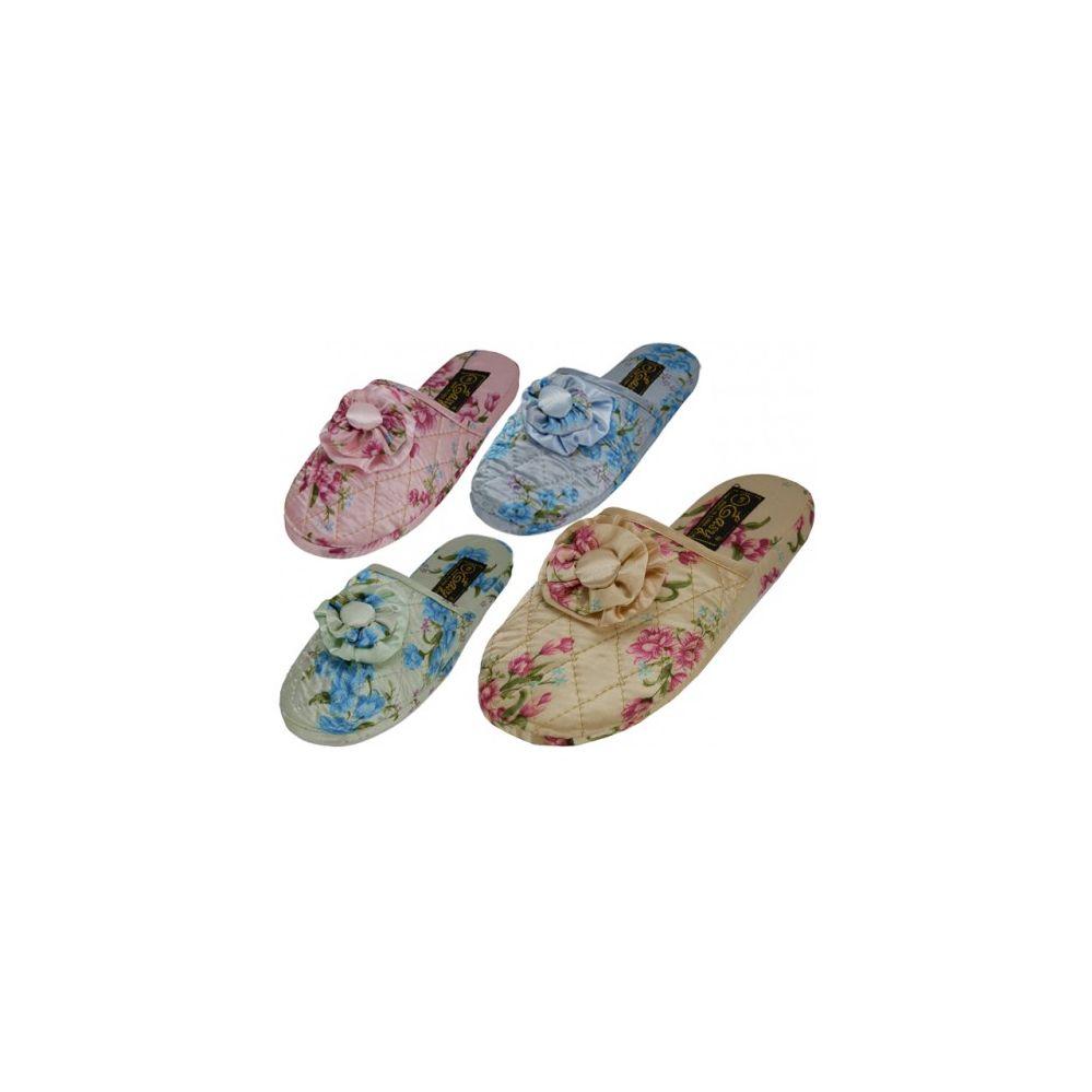Wholesale Footwear Ladies' Satin Floral Slippers Colors: Blue, Pink, Green