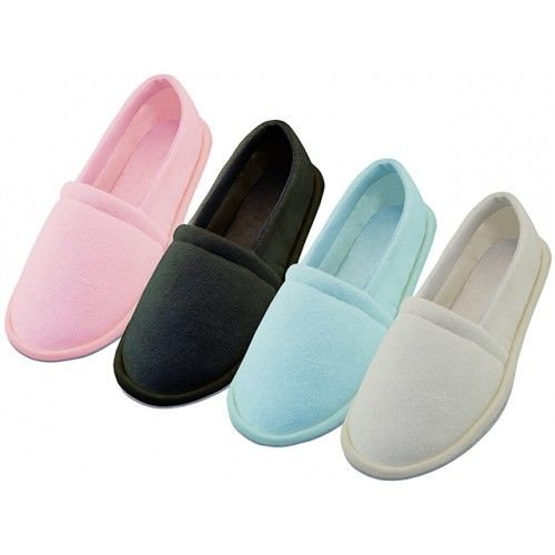 Wholesale Footwear Women's Cotton Terry Upper Close Toe And Close Back House Shoes