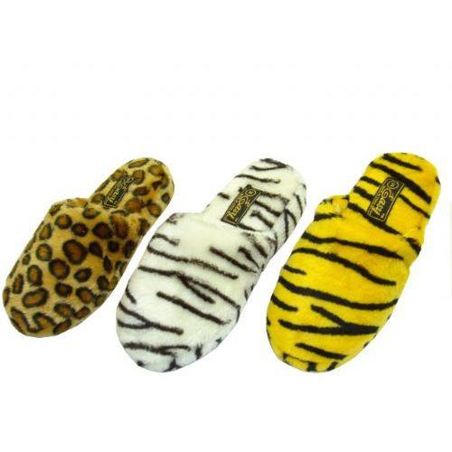 Wholesale Footwear Ladies Plush Animal Print Slippers
