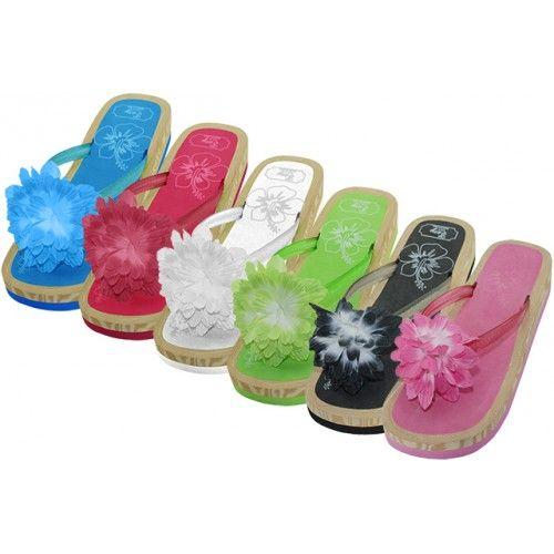Wholesale Footwear Women's Silk Flower Top Slide Flip Flops