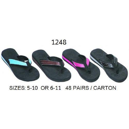 Wholesale Footwear Ladies Wedge Flip Flop With Color Band