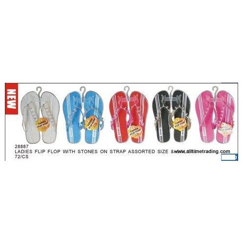 Wholesale Footwear Ladies Basic Flip Flop With Stones