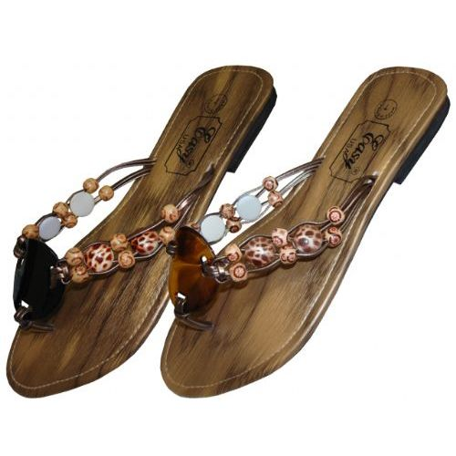 Wholesale Footwear Womans Wood Flip Flop With Beads