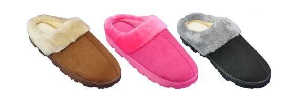 Wholesale Footwear Women's Warm Fleece Plush Micro Suede Slippers
