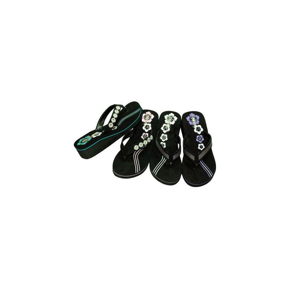 Wholesale Footwear WOMENS FLIP FLOPS BLACK, SIZE 5 - 10