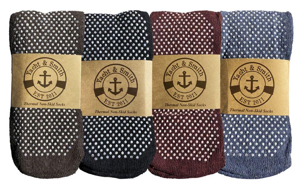 Wholesale Footwear Yacht & Smith Non Slip Gripper Bottom Mens Winter Thermal Slipper Tube Socks Size 10-13