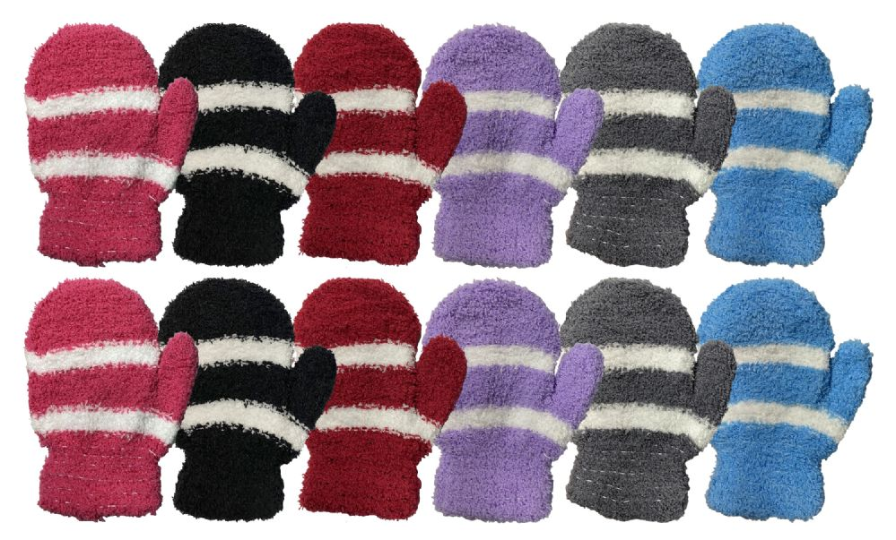 Wholesale Footwear Yacht & Smith Kids Striped Fuzzy Mittens Gloves Ages 2-7