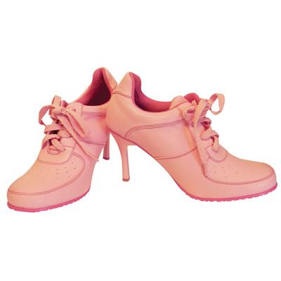 Wholesale Footwear LADIES FUNKY HIGH HEEL SNEAKER SHOES SIZES 6-10 PINK BOXED