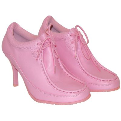 Wholesale Footwear LADIES FUNKY HIGH HEEL SNEAKER SHOES SIZES 6 - 10 PINK WITH DETAILED STITCHING BOXED