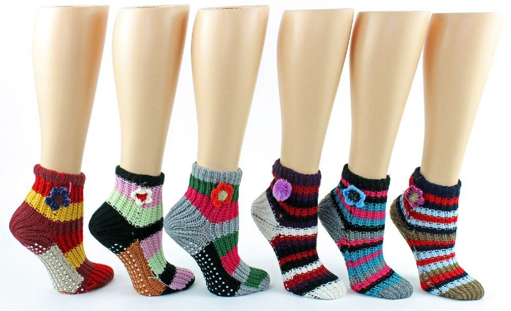 Wholesale Footwear Women's Deluxe Crochet Slipper Socks W/ NoN-Skid Grips
