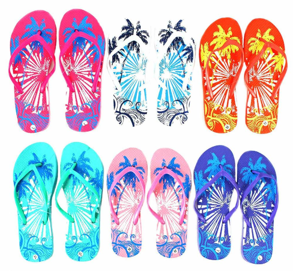 b35e96f96 Wholesale Footwear Women s Flip Flops - Palm Tree Prints - at ...