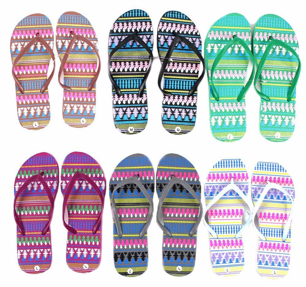 Wholesale Footwear Women's Flip Flops - Tribal Prints