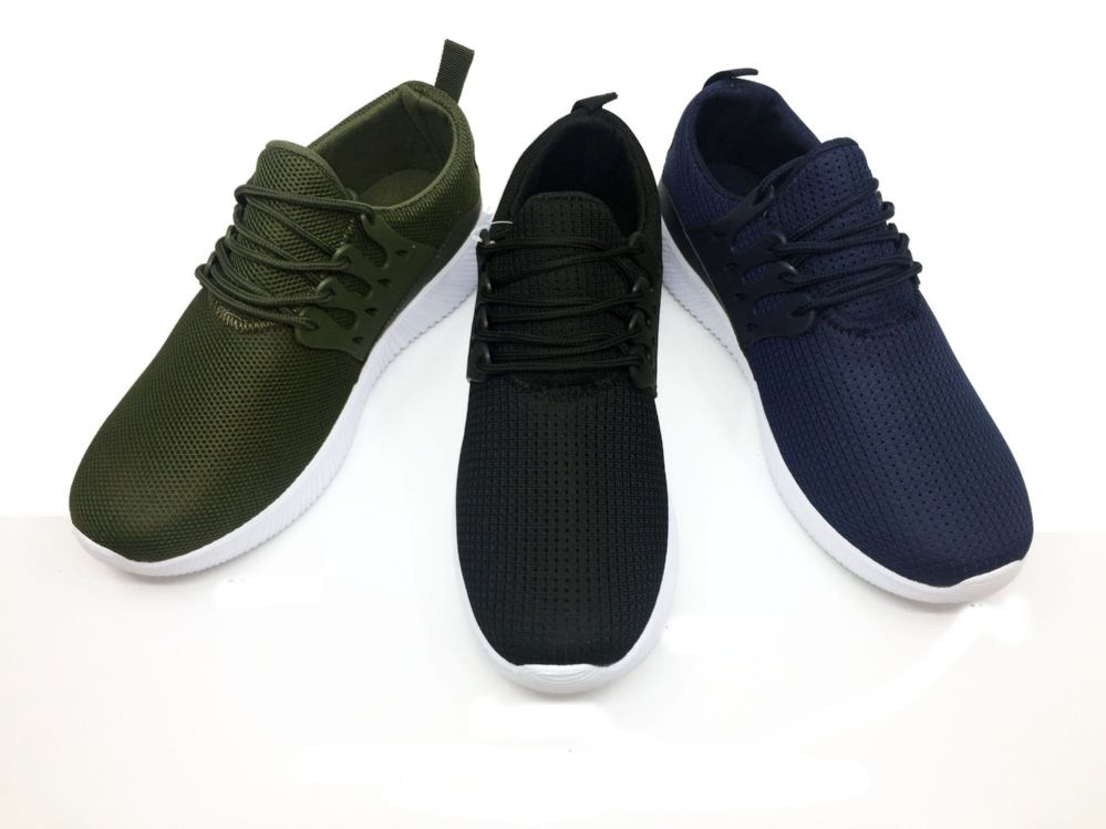 Wholesale Footwear Modern Mens Breathable Sneakers With Laces In Black
