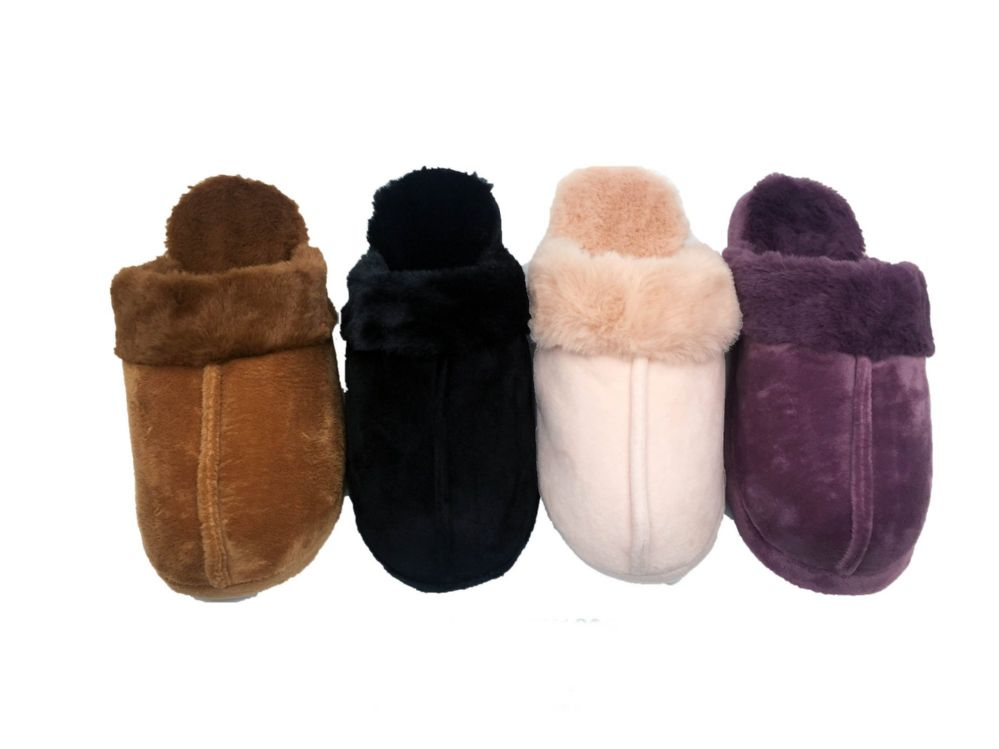 Wholesale Footwear SUPER SOFT FURRY SLIPPERS FOR WOMEN BLACK ONLY