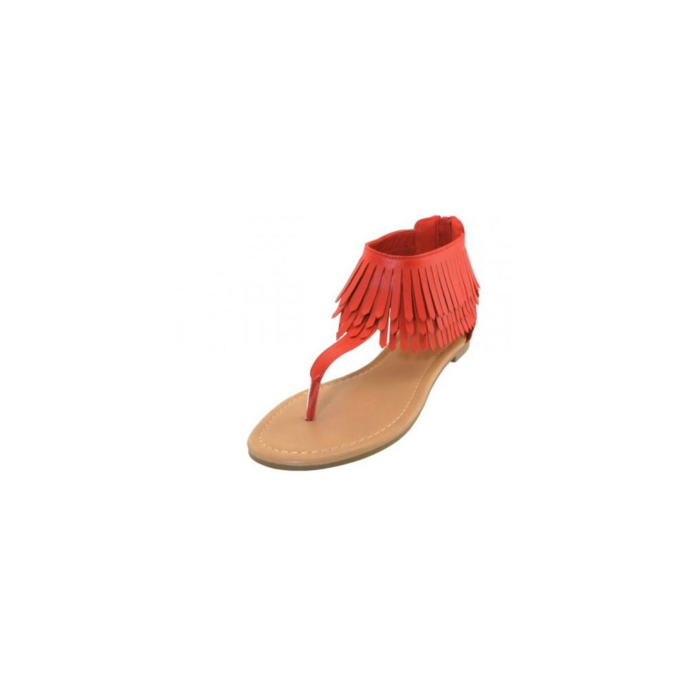 Wholesale Footwear Woman's Fringe Thong Sandals Red Size 5-10