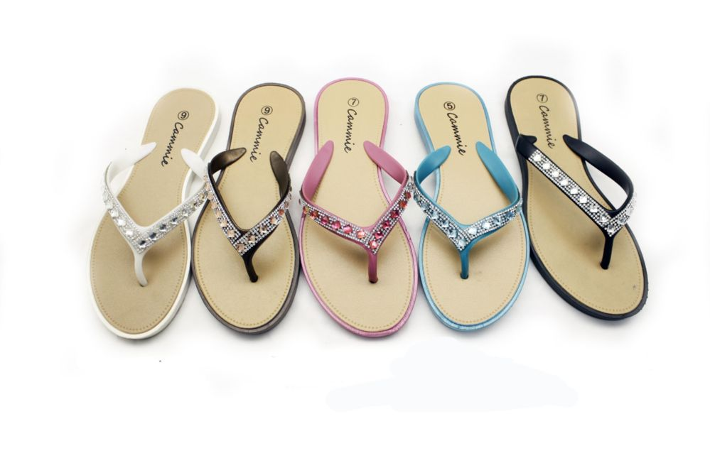 Wholesale Footwear WOMEN FLIP FLOPS WITH GLITTERING STRAPS IN ASSORTED COLOR