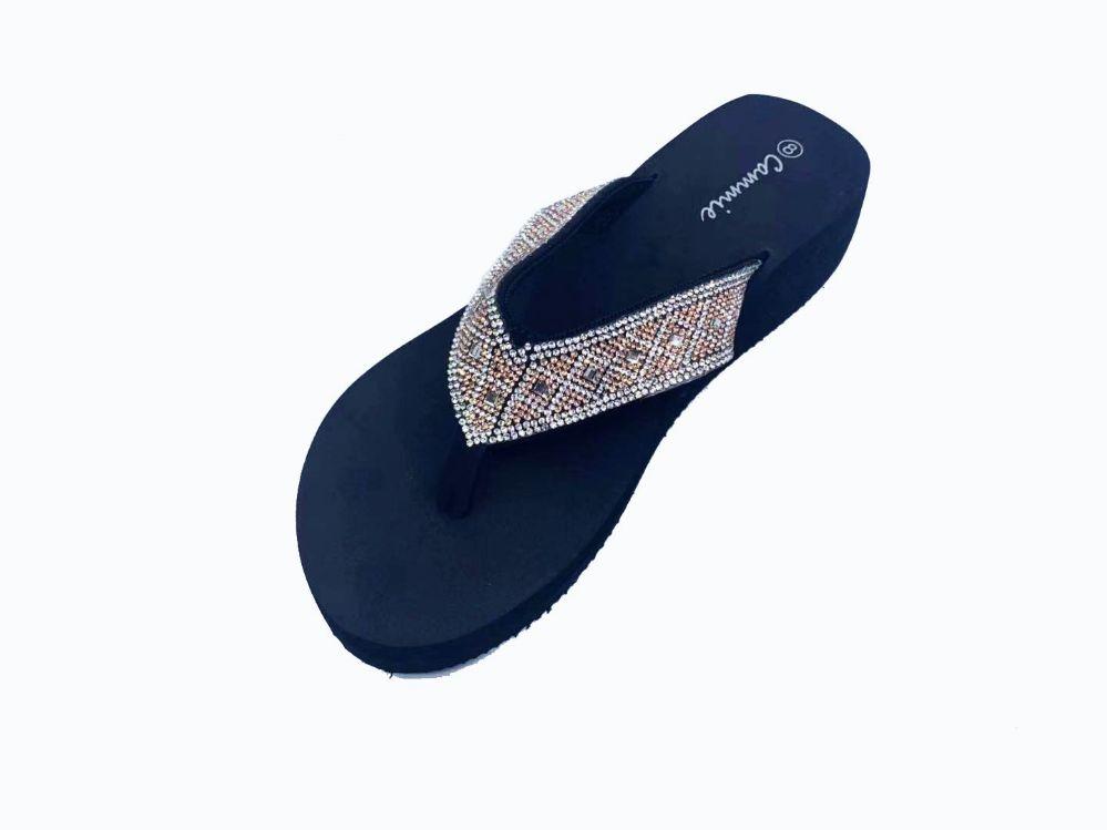 Wholesale Footwear Women Flip Flops With Glittering Straps In Black