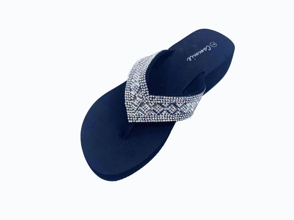 Wholesale Footwear WOMEN FLIP FLOPS WITH GLITTERING STRAPS IN ROSE GOLD