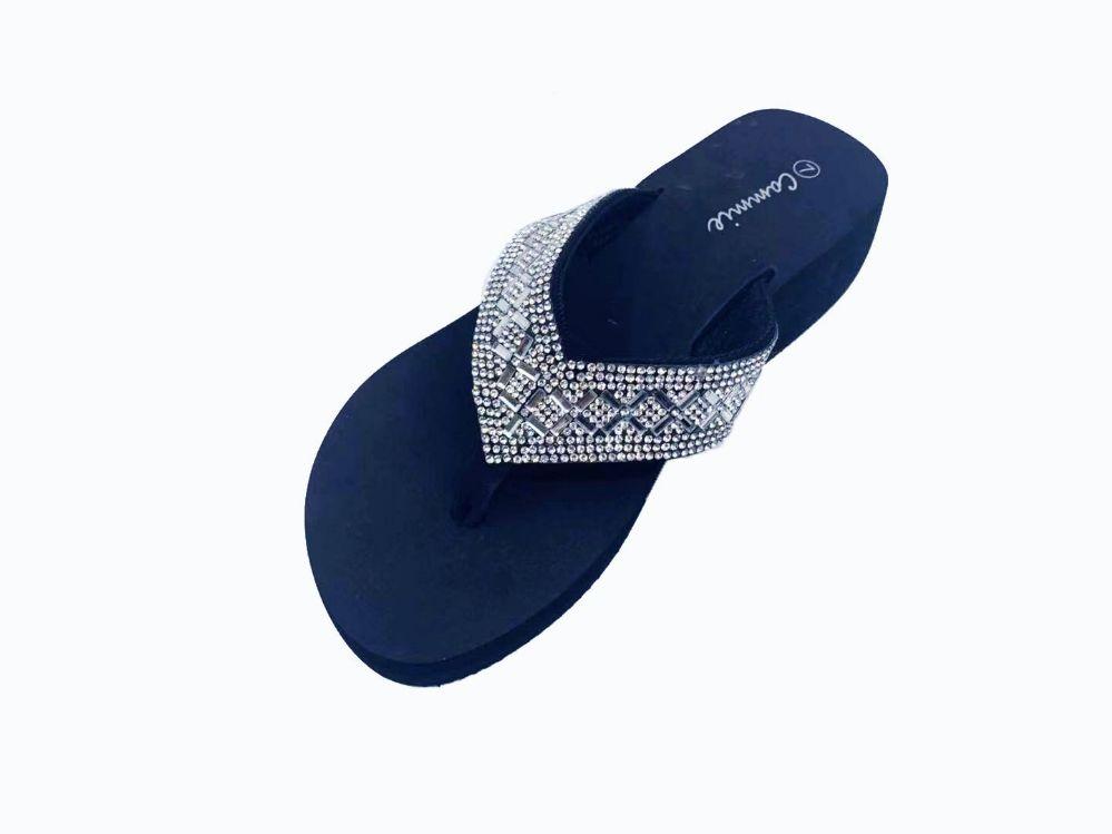 Wholesale Footwear Women Flip Flops With Glittering Straps In Rose Gold