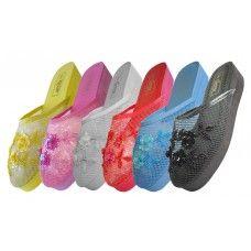 Wholesale Footwear Women's Mesh Upper With Sequin MiD-Platform Comfort Slippers ( *asst. 6 Color ) Size 6-11