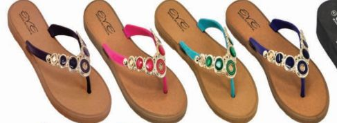 Wholesale Footwear Womens Summer Beach Flat Sandals Rhinestone Shiny Beads Slip On Flip Flops