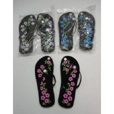 Wholesale Footwear Ladies Flip Flops With Printed Flowers