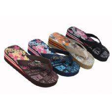 Wholesale Footwear Womans Wedge Flip Flop Assorted Prints