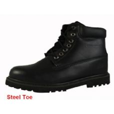 "Wholesale Footwear Men's Genuine Leather Boots--6"" Steel Toe"