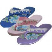 Wholesale Footwear Women's Floral Print Flip Flops
