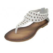 Wholesale Footwear Ladies Stud Sandal White