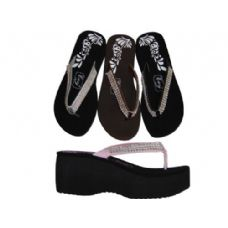 Wholesale Footwear Ladies' 3 Row Gem Wedge