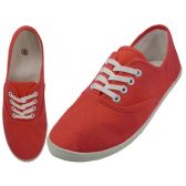 Wholesale Footwear Women's Lace Up Casual Canvas Shoes ( *Red Coral Color )