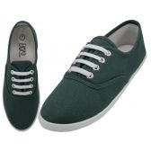 Wholesale Footwear Women's Lace Up Casual Canvas Shoes ( *hunter Green Color )