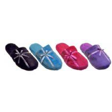 Wholesale Footwear Ladies Plush Slipper With Ribbon